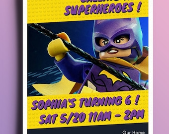 Lego Batgirl Birthday Invitation