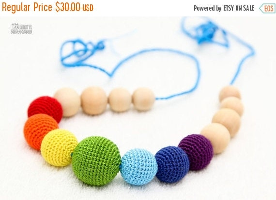 Christmas Sale Teething Necklace Rainbow  Waldorf  toy crochet sling necklace.Organic Breastfeeding mom necklace