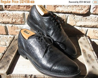 SALE Vinatge 80's Dack's Black Balmoral Exotic Leather,Leather goodyear welted nailed soles + Cedar shoe trees, Made in Canada Men's 9.5 D U