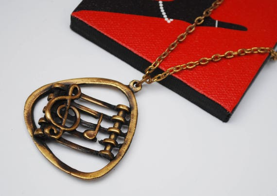 Music Note Necklace - Brass gold metal music pendant -Clef Key