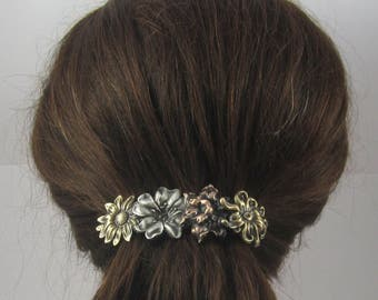 Flowers French Barrette 80mm- Flower Hair Clip- Floral Barrette- Gifts for Gardeers