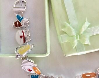 Registered Nurse (RN) style charm bracelet