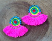 Hot Pink Crochet Tassel Earrings Festival Tassel Earrings Long Tassle Earings BOHO Chic Earrings Gypsy Tassles Trending Wholesale Jewelry