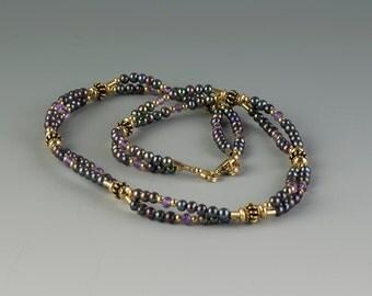 Double Strand Pearl & Gemstone Necklace, Genuine Quality Black Peacock Pearls, Faceted Amethyst, 24K Gold Vermeil, Handmade, Unusual Pearls