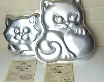 Wilton Kitty Cat Cake Pan and Wilton Kitten Cake Pan - Instruction Booklets Included