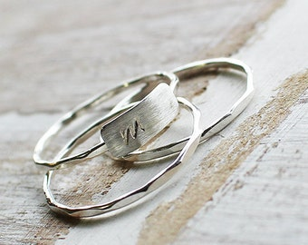 Initial Sterling Silver Stack Ring Set, Personlized Stack Rings, Silver Stack Rings
