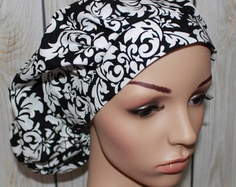 Black Damask,Bouffant Women's Scrub Hat, Surgical Scrub Hat, OR Nurses Scrub Hat, Scrub Cap