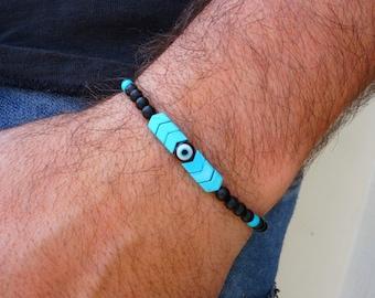 Evil Eye Bracelet - Mens Bracelet - Arrow Bracelet - Turquoise Bracelet - Black Bracelet - Beaded Adjustable Bracelet - Boho Gift For Him