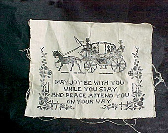 Vintage Cross Stitch Motto Sampler - Hand Made - Hand Stitched - Black Thread on Ecru, Ivory Rough Linen - Horse & Stagecoach, Carriage