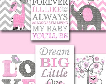 Gray Pink Canvas Wall Decor Girl Nursery Quotes Baby Nursery Decor Nursery Art Kids Room Decor Nursery Wall Art Kids Wall Art  set of 6