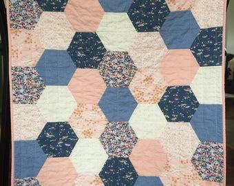 Spring Summer Baby Toddler Hexagon Quilt Blanket Girl Modern Patchwork Peach Navy Blue White Floral Daisies
