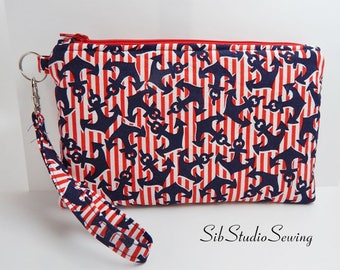 """Patriotic Anchors Clutch, 9 x 5.5 inches, Fits iPhone 6 & 7 Plus, Smartphone up to 7"""" Length, Pockets, Nautical Anchors Phone Purse"""