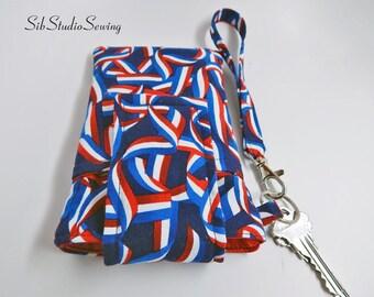 "Flag Smartphone Wristlet, Fits iPhone 6, 7, Smartphone up to 5.75"" x 3.5"", Key Ring, Pocket, Patriotic Smartphone Wristlet, USA Wristlet"