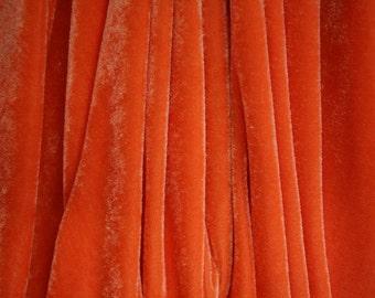 "Orange Stretch Velvet Fabric 58"" Wide  Per Yard"