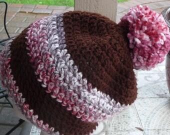 BEANIE Chunk crochet Hat Brown grey pink tones POM POM
