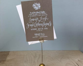 Shabby Chic Wedding Invitation / Kraft Paper and White Ink Wedding Invitation / Flowe Box Wedding Invitation / Rustic Wedding