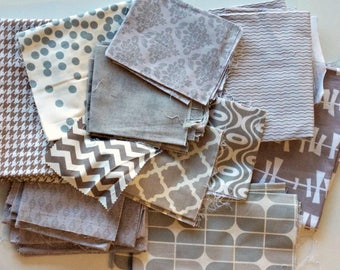 Quilting Scrap Fabric Pack -  Quilter's Cotton - Gray White Cream Grey