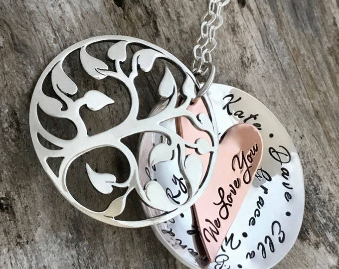 Family tree necklace with personalized names | Sterling silver |  Personalized Tree of Life Necklace |Custom |Hand Stamped |Gift for Grandma