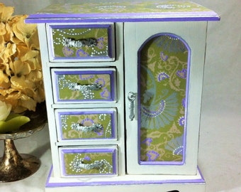 Lavender Jewelry Box Armoire, Large Jewelry Box,  Silver Jewelry Cabinet, Asian Jewelry Organizer, Women's Jewelry Box, Girl's Jewelry Box