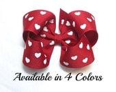 Valentines Hair Bow, 4 Inch Bows, Girls Hair Bows, Red Hair Bow, Hair Bows, Toddler Hair Bows, Alligator Clip, Snap Clip, Barrette, 400