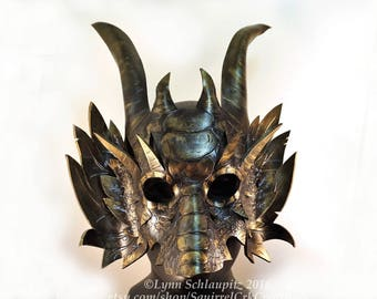 Deluxe Dragon mask! Leather mask, Black and Gold, FREE SHIPPING in US*!,  Role Play, Renaissance,  Fantasy, Mardi Gras, Halloween