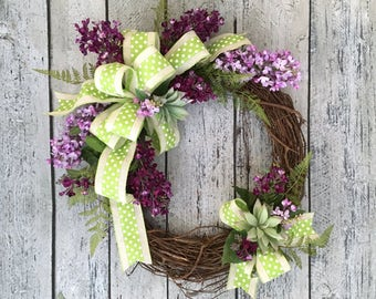 Lilac Wreath, Spring Wreath, Purple Lilacs with Green Polka Dot Ribbon, Grapevine Spring Wreath, 18""