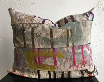Urban Graphic Industrial Pillow Cover, 16x20 Lumber Pillow Cover, Paint Splatter, Colorful Graffiti Mixed Art Decor
