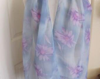 "Scarf Light Blue Floral Sheer Soft Poly Scarf 12"" x 60"" Long - Affordable Scarves!!!"