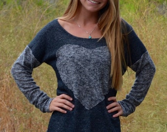 SOLD OUT | Heart Sweater in Charcoal Grey