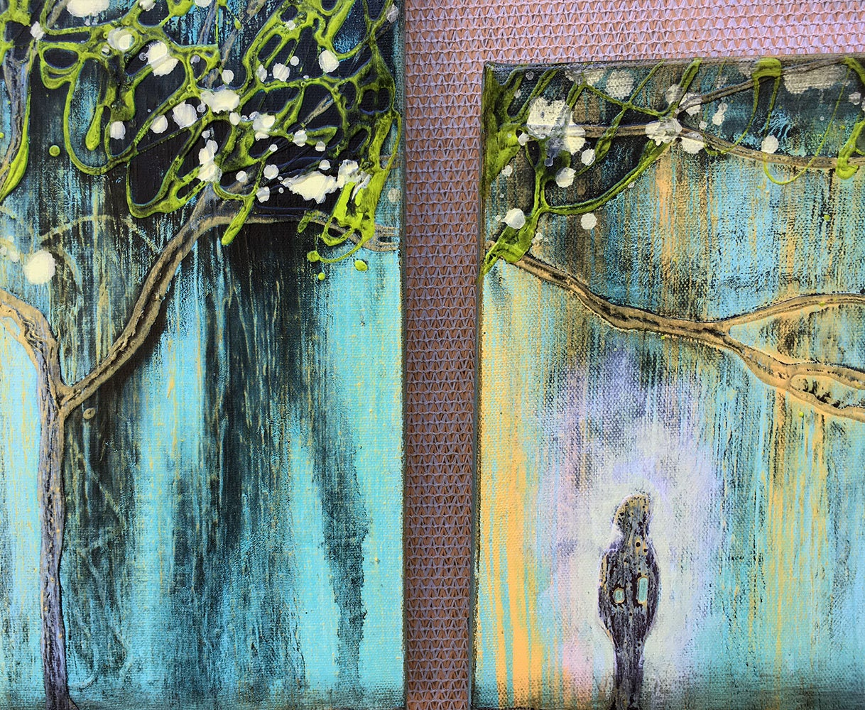 inspiring tree textured original painting by artist rafi perez mixed medium on canvas triptych
