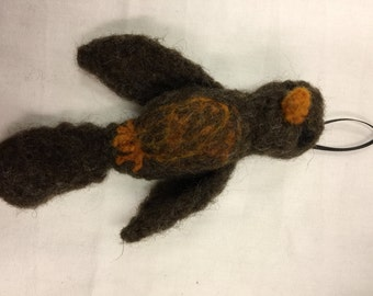 Needle felted robin ornament