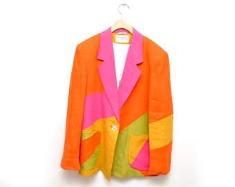80s Neon Color Block Geometric Blazer Sportcoat Jacket Made in Yugoslavia Womens 14
