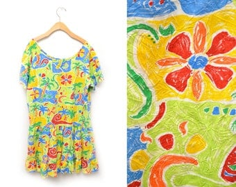 80s Hawaiian Tropical Dress Patterned Floral Rayon Womens XL