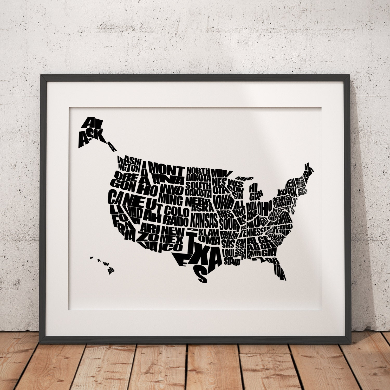 Usa word map a typographic word map of the united states for Home decor usa