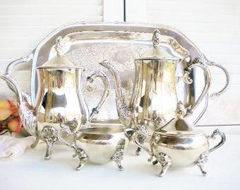 Vintage Silverplate Tea Set/Silverplate Mismatched Serving Set 5 Piece/Coffee And Tea Set/Wedding Tea Set/Tea Party Decor/Repurposed