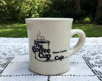 Heavy Coffee Mug / Coffee Cup Cafe Mug / Thick Restaurant Mug /Black & White Coffee Mug/Diner Coffee Mug/Coffee Cup Cafe/Very Good Cond