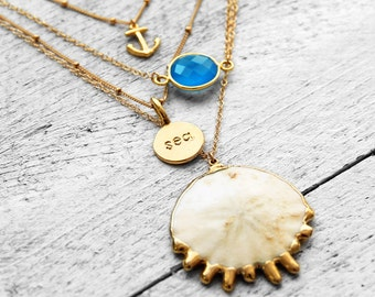 SEA necklace with stamped plaque | gold