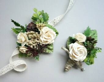 Prom Boutonniere and Corsage Special, Wrist Corsage, Boutonniere & Corsage, Rose Corsage, Forest Wedding Boutonniere, Woodland Corsage