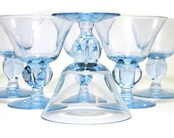 Six Seneca Ingrid Blue Glasses Small Wine Stems Cordials