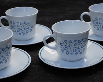 Set of Four Corelle Corning Blue Heather Teacups and Saucers