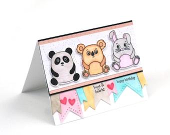 Cute cuddly critters fun birthday card for kids, panda bear, koala bear, bunny rabbit, happy birthday blank card