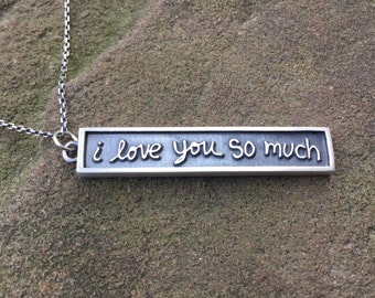 "Austin, Texas ""i love you so much"" graffiti necklace/pendant"