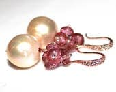 Cream Pearl Earring Classic Pearl Wedding Earring Rose Gold Bridesmaid Iridescent Pearl Baroque Pearl Earring Pink Topaz Earring