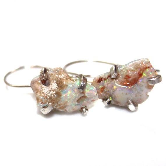 Rough Australian Opal Earring in Sterling Silver