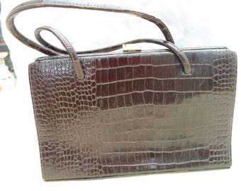 Brown leather mock croc handbag
