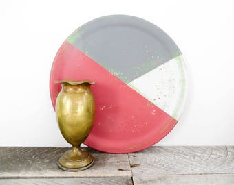 Funky Display Plate - Pink and Gray - Modern Urban Decor - Round Wooden Tray