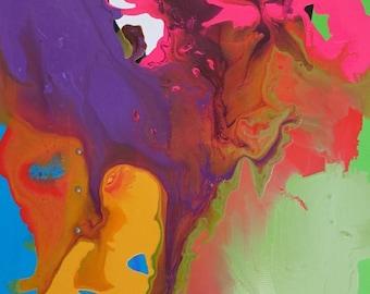 "SALE Mixed Media Acrylic Painting Original Art - Yellow Orange Blue Red Orange 24"" x 36"""