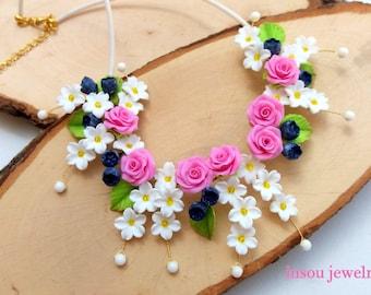 Rose Necklace, Flower Necklace, Statement Necklace, Pink Roses, Wedding Necklace, Handmade Necklace, Women Gift, Spring Necklace, Floral
