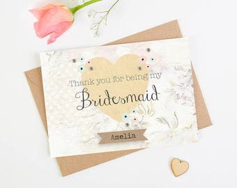 Thank You Bridesmaid Card - Floral Patchwork personalised