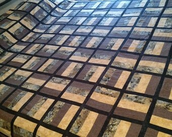 Handmade Brown Quilt Patchwork, Rail Fence 82 X 80 full size